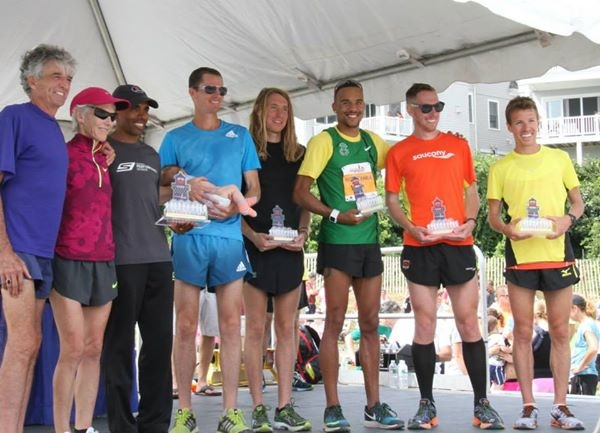 Top 5 American finishers with the ALL-Americans: Frank Shorter, Joan Benoit-Samuelson, and Meb.
